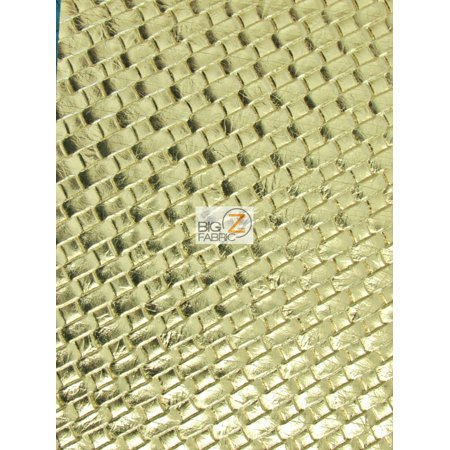 Lattice Basket Weave Upholstery Vinyl Fabric / Gold / Sold By The Yard ()