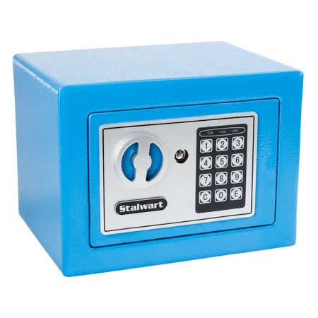 Digital Security Safe Box For Valuables Compact Steel Lock With Electronic Combination Keypad By Stalwart Blue