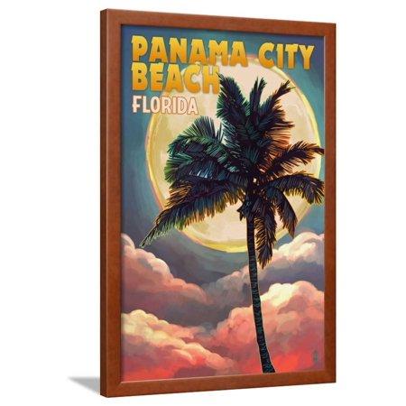Panama City Beach, Florida - Palm and Moon Framed Print Wall Art By Lantern