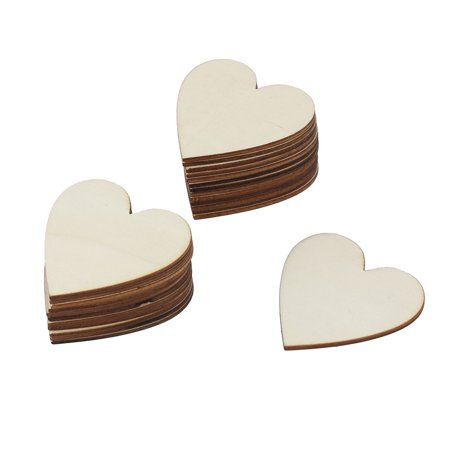 Wedding Wooden Love Heart Shaped Decor DIY Craft Slices Beige 60mm x 60mm 25 Pcs](Wood Tree Slices)