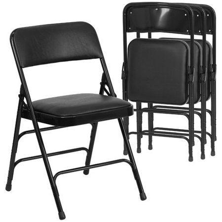(Flash Furniture 4pk HERCULES Series Curved Triple Braced & Double Hinged Black Vinyl Upholstered Metal Folding Chair)