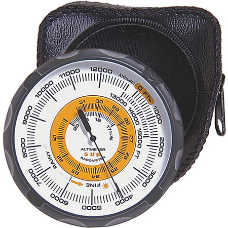 Sun Company Altimeter 202 - Battery-Free Altimeter and Barometer Weather-Trend Indicator with Soft Leather Case Reads Altitude from 0 to 15,000 Feet
