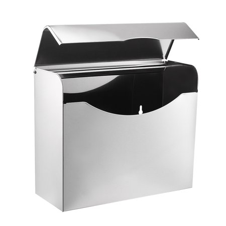 Uxcell 235mmx90mmx200mm Stainless Steel Glossy Wall-Mount Flip-up Paper Holder w Cover - image 5 of 6