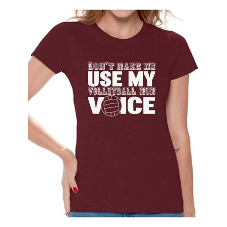 Awkward Styles Women's Don't Make Me Use My Volleyball Mom Voice Graphic T-shirt Tops White ()