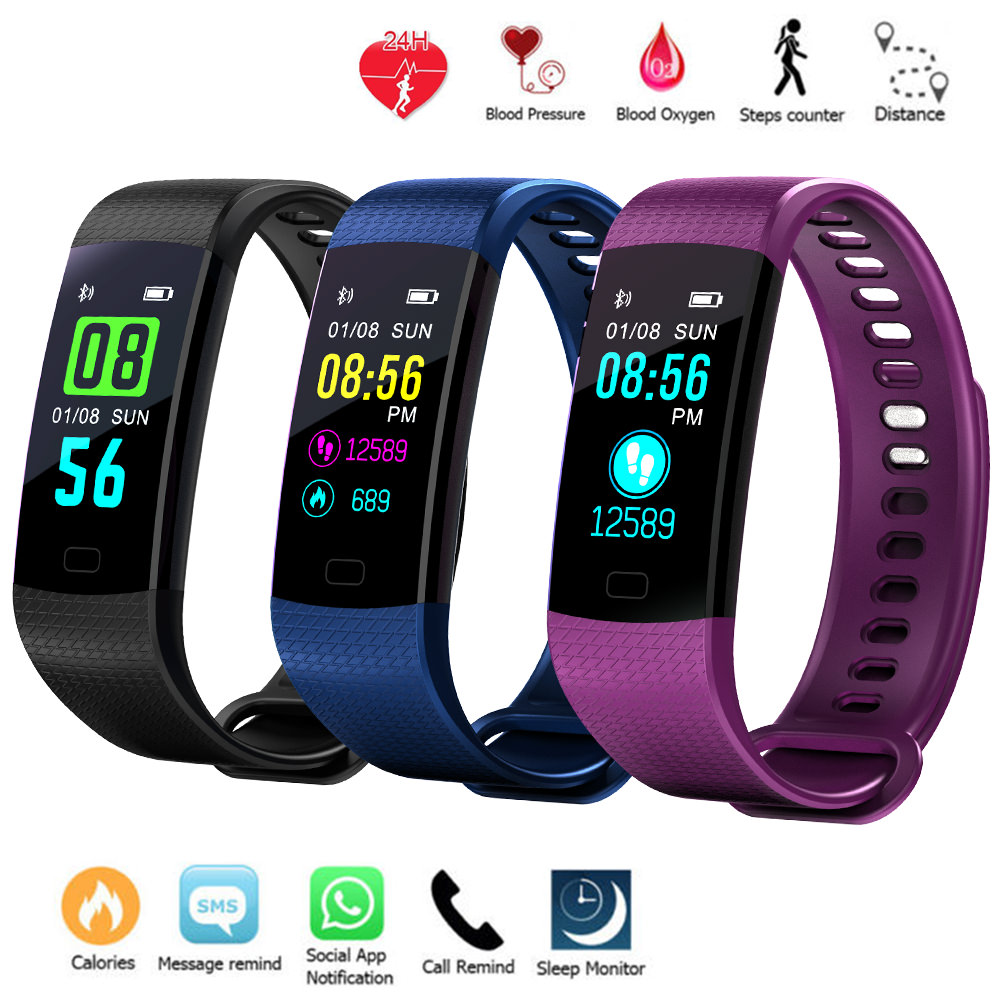 Fitness Tracker Watch With Heart Rate Monitor, Activity Tracker Smart Band With Blood Pressure,Colorful Screen,Step Counter,Sleep Monitor,GPS Waterproof Tracker Black For Women Men Children