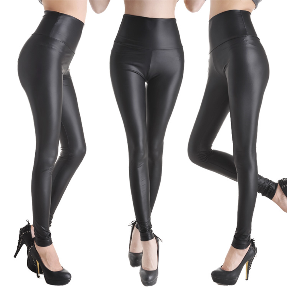 Sexy Womens Elastic High Waist Faux Leather Leggings - Walmart.com