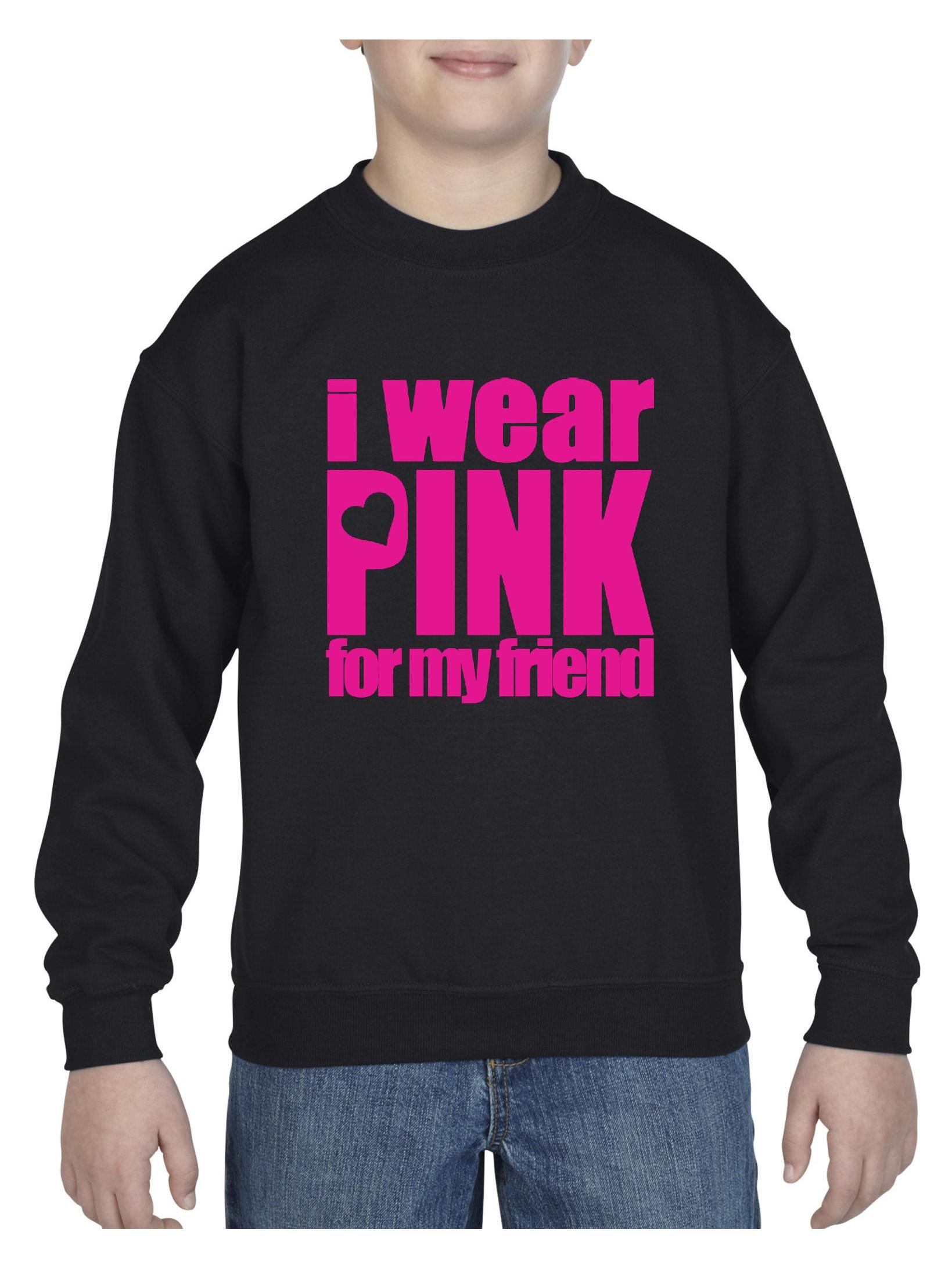 Cancer Awareness I Wear Pink For My Friend Youth Crewneck Sweatshirt