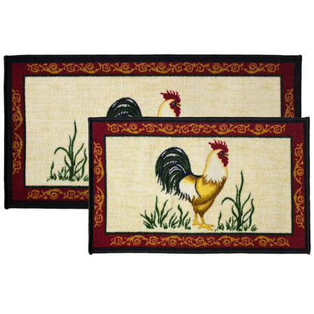 2pc Dot Rooster Kitchen Rug Set, Area Rug, Mat, Carpet, Non-Skid Latex Back (18x30 Rectangle & 20x40)