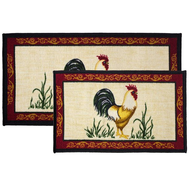 2pc Dot Rooster Kitchen Rug Set Area Mat Carpet Non Skid Latex Back 18x30 Rectangle 20x40 Walmart Com