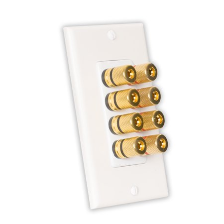 Theater Solutions WP4 Home Theater Speaker Wire Wall Plate 4-Speaker 8 Posts