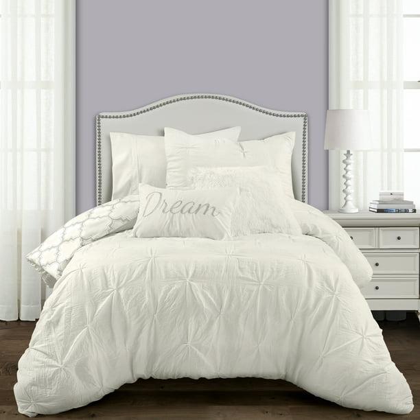 Lush Decor Ravello Pintuck Ine Geo, White Bedding For Twin Bed