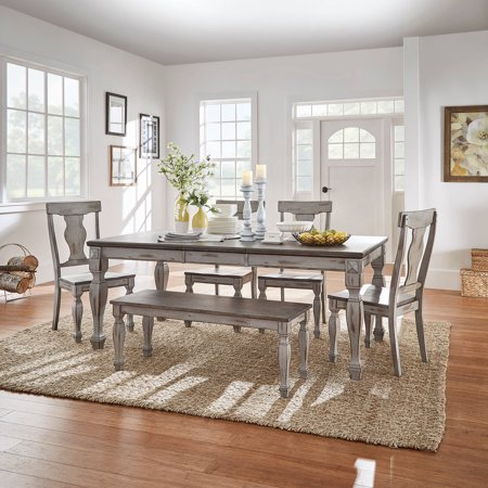 Weston Home Two Tone 6 Piece Dining Set Coffee And Antique Grey