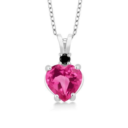2.07 Ct Heart Shape Pink Mystic Topaz Black Diamond 925 Sterling Silver Pendant