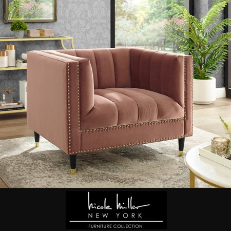 Nicole Miller Janie Velvet Club Chair - Blush | Channel Tufted | Nailhead Trim | Metal Leg Tip | Contemporary ()