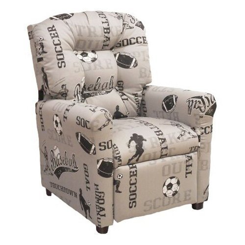 Brazil Furniture 4-Button Back Child Recliner - Sports Storm Gray