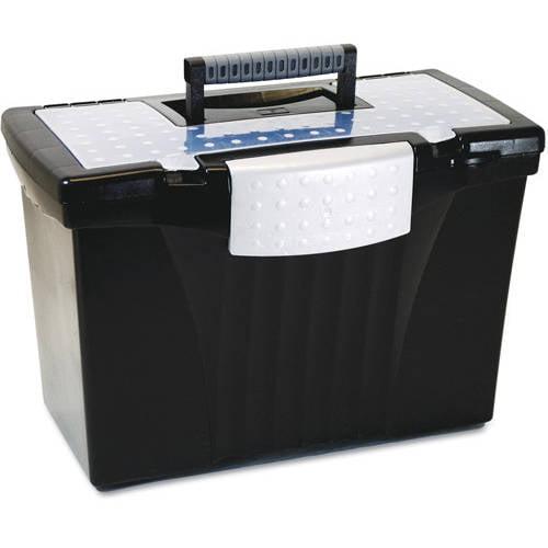 Storex Portable File Storage Box w/Organizer Lid, Black