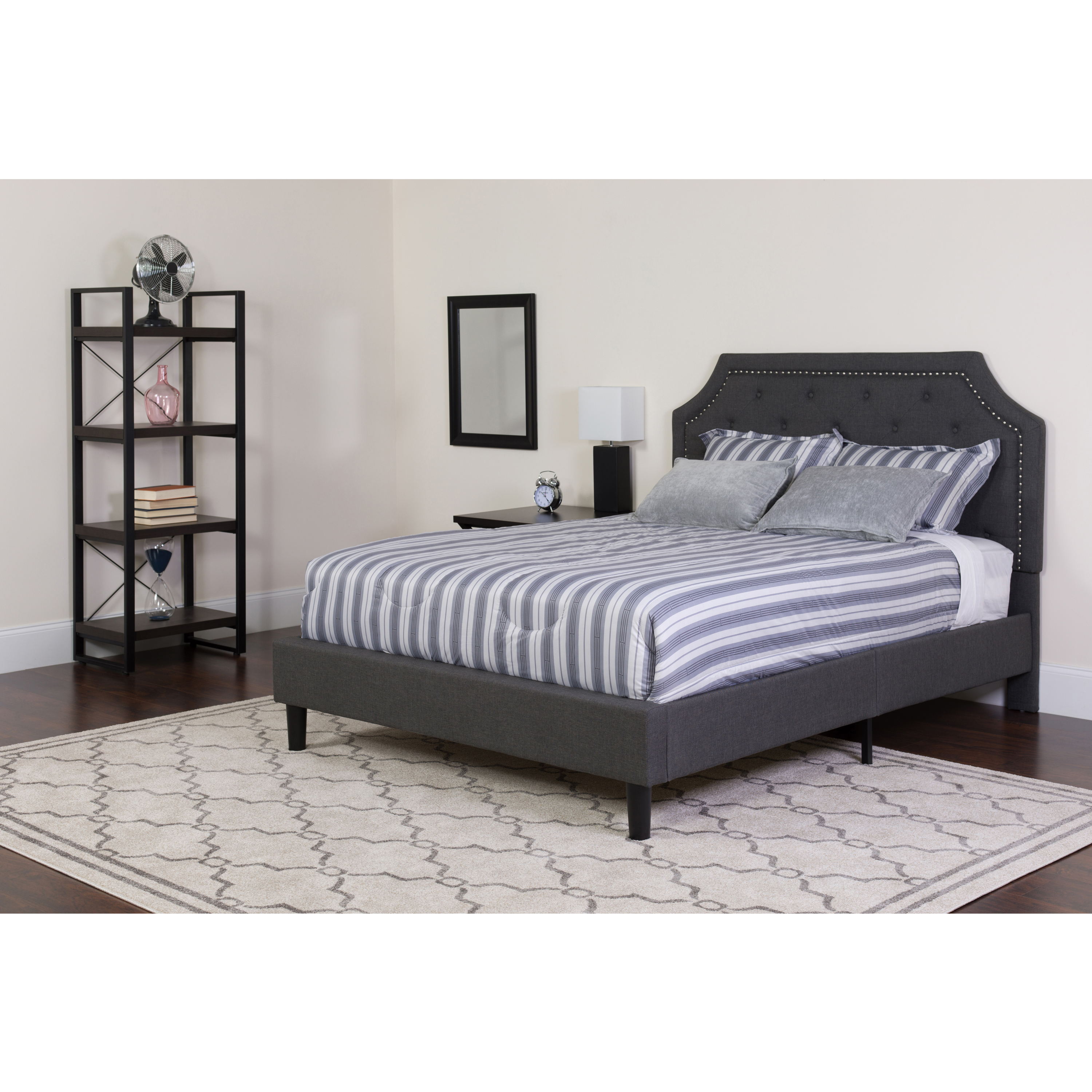 Flash Furniture Brighton Tufted Upholstered Full Size Platform Bed in Dark Gray Fabric