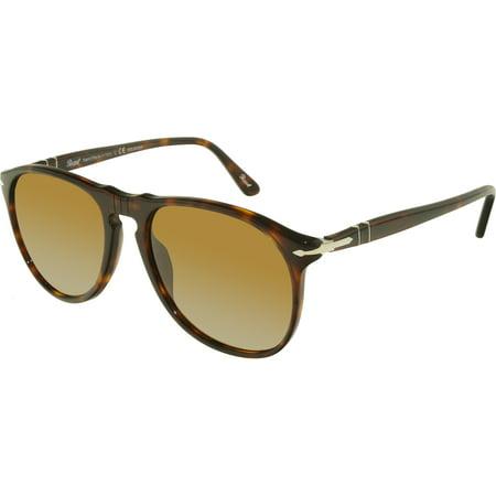 Persol Polarized PO9649S-24/57-55 Brown Oval Sunglasses