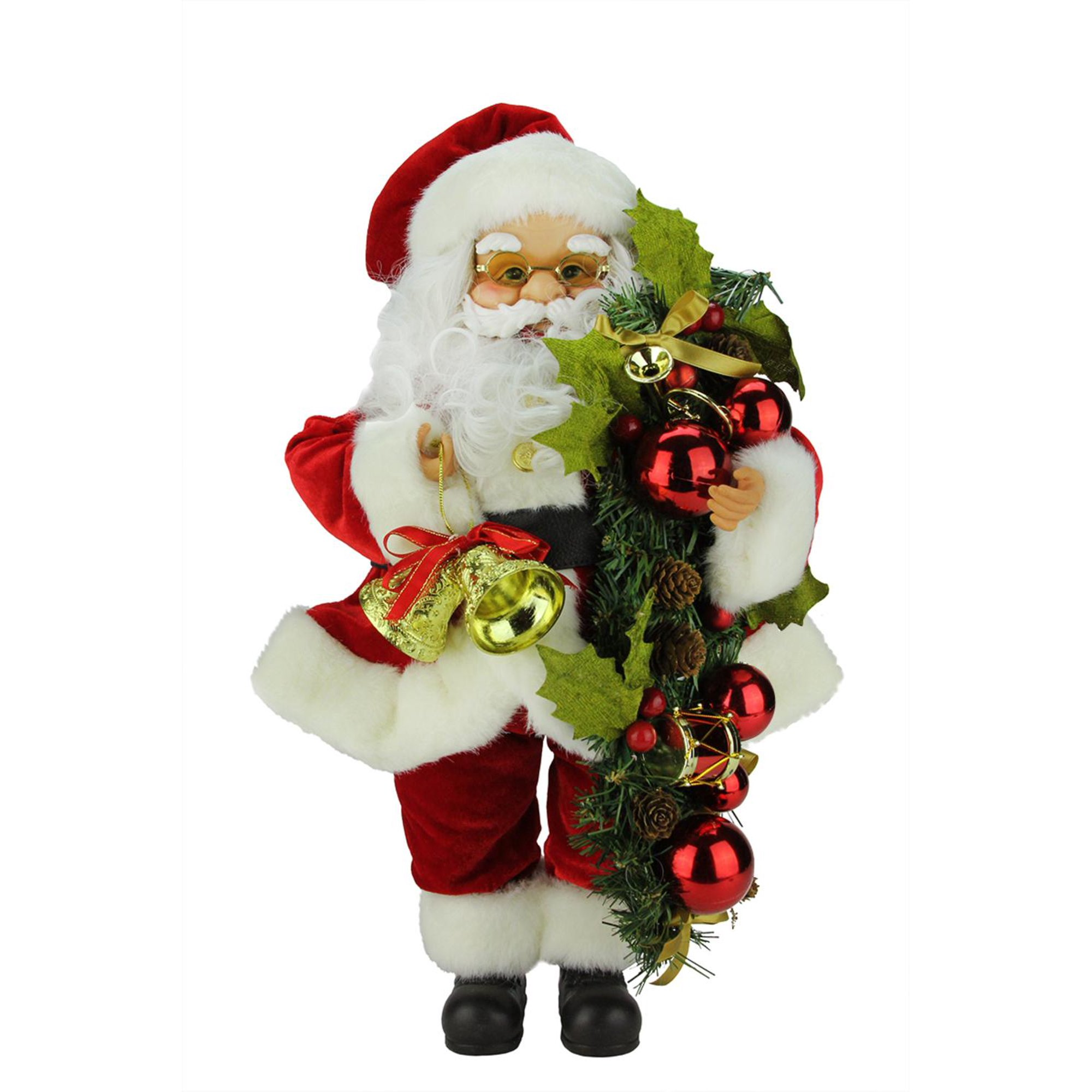 20 traditional standing santa claus with bells and swag christmas figure walmart canada
