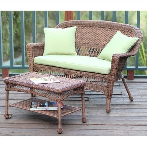 Jeco Wicker Patio Love Seat and Coffee Table Set in Honey with Green Cushion