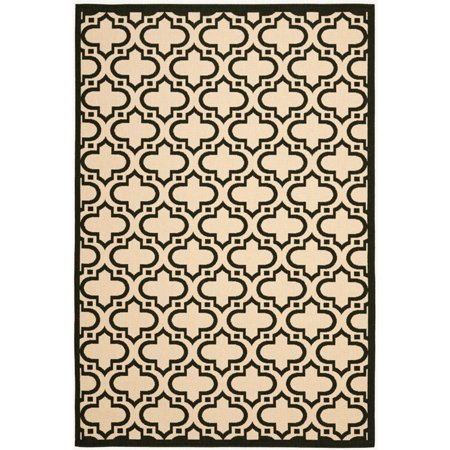 "Safavieh Courtyard 7'10"" X 10' Power Loomed Rug in Creme and Black - image 2 of 2"