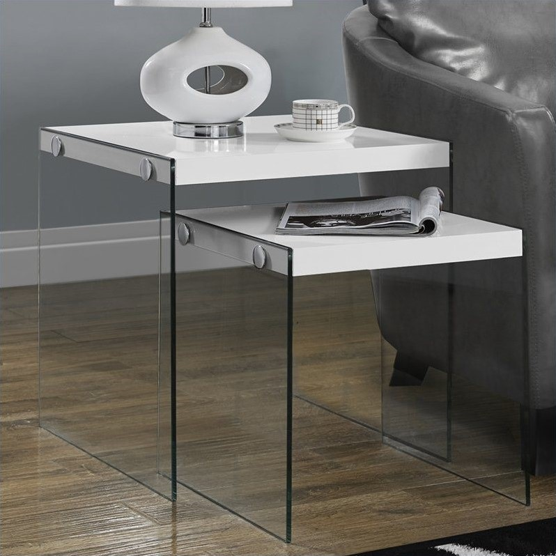 Monarch 2 Piece Nesting Table Set in Glossy White
