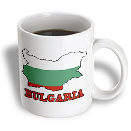 3dRose The flag of Bulgaria in the outline map of the country and name, Bulgaria, Ceramic Mug, 15-ounce