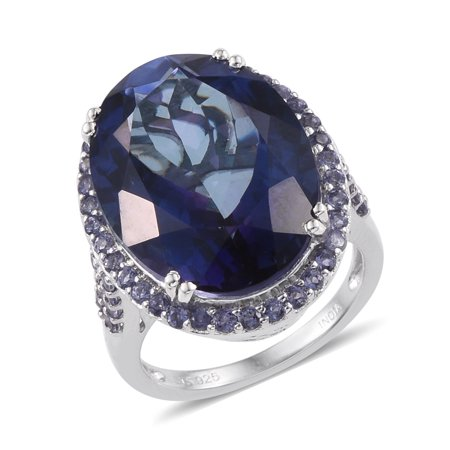925 Sterling Silver Platinum Plated Odyssey Tanzanite Iolite Statement Ring for Women Cttw 11.7