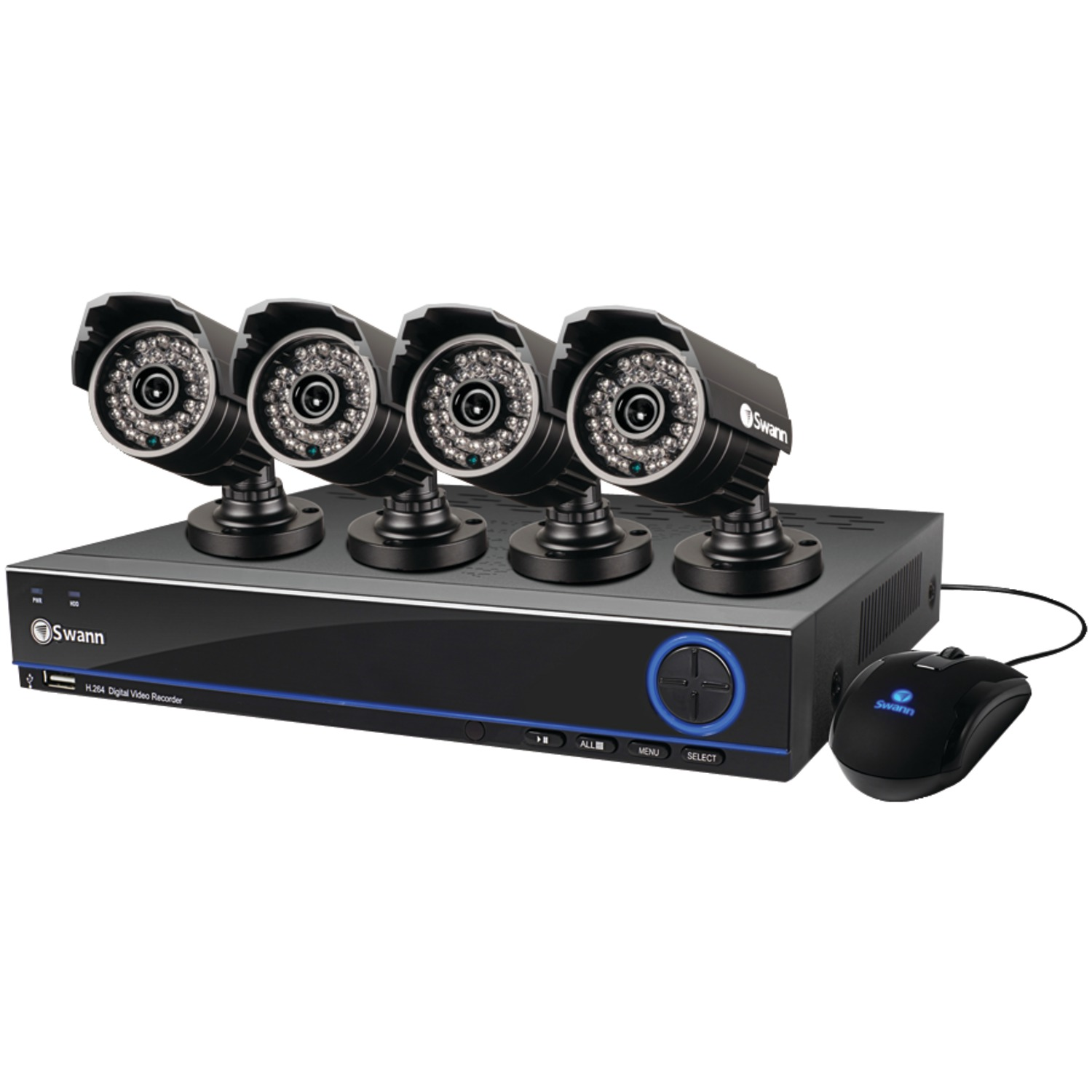 Swann Indoor/Outdoor SWDVK-832004S-US 3200 4-Channel 960H DVR with 500GB HDD and 700 TVL Camera Kit, 4-Pack