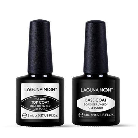 Base Coat And No Wipe Top Coat Gel Polish Set,Lagunamoon 8ML Gel Nail Polish Soak Off UV LED (Best Gel Base And Top Coat)