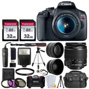 Canon EOS Rebel T7 Digital SLR Camera with 18-55mm EF-S f/3.5-5.6 is II Lens + 58mm Wide Angle Lens + 2X Telephoto Lens + Flash + 64GB SD Memory Card + UV Filter Kit + Tripod + Full Accessory Bundle