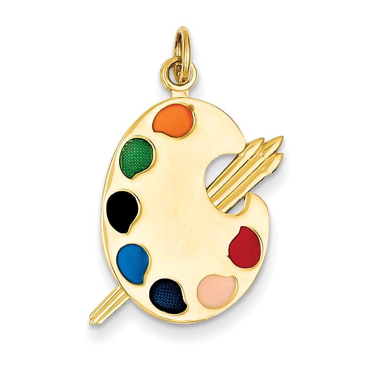 14K Yellow Gold Enameled Artist Palette Charm - image 2 of 2