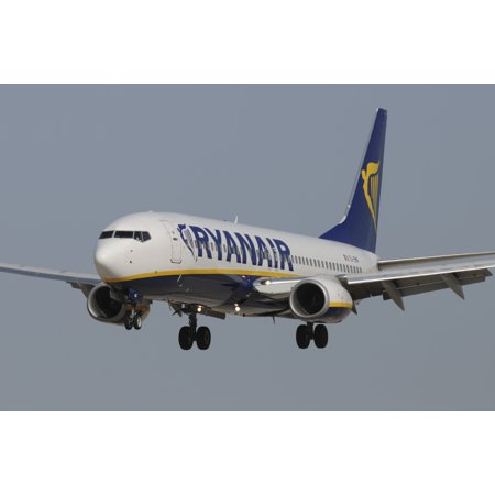 Boeing 737 From Ryanair Airlines Prepares For Landing Canvas Art   Riccardo Niccolistocktrek Images  34 X 23