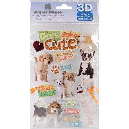 Paper House 3D Stickers, Dog Gone Cute