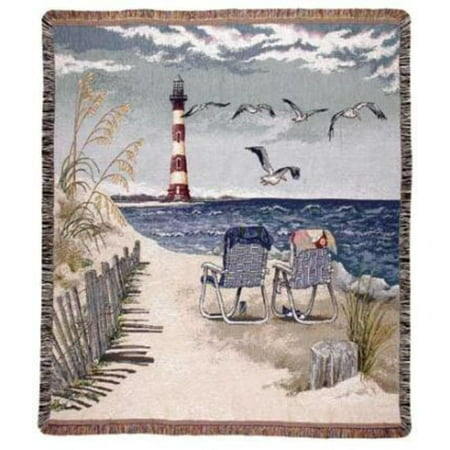 Seaside Escape Lighthouse Seagulls Tapestry Throw Blanket 50 x 60 Tapestry Throw Blanket Gift