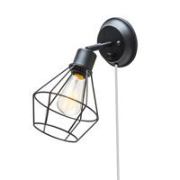 Globe Electric Verdun 1-Light Matte Black Plug-In or Hardwired Industrial Cage Wall Sconce,65291