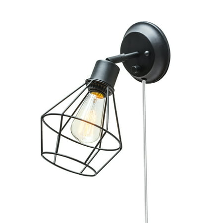 Globe Electric Verdun 1-Light Matte Black Plug-In or Hardwire Industrial Cage Wall Sconce, 65291