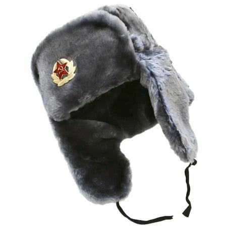 Gray faux fur ushanka winter hat - Walmart.com fd5fbe109f2
