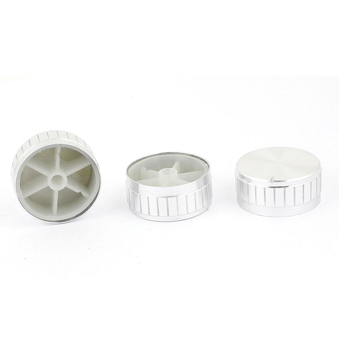 3pcs 40mm x 6mm Potentiometer Control Knob Volume Cap Knurled Button Silver Tone
