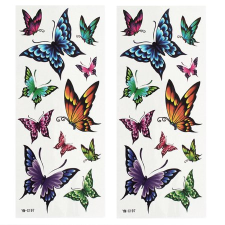 2 Sheets Back Leg Removable Butterfly Pattern Sticker Temporary Tattoos Colorful - Leg Lamp Tattoo