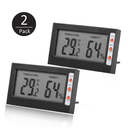 Hygrometer Thermometer, EEEKit 2-Pack Adjustable Mini Digital Indoor Temperature Humidity Meter Gauge Monitor with Buttons for Car Incubators Brooders Cigar
