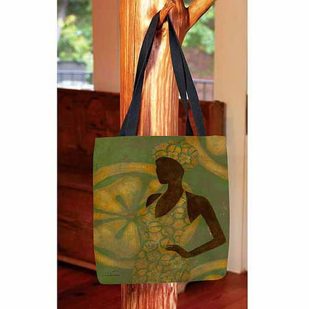 MANUAL WOODWORKERS AND WEAVERS Ebony Art Green Printed Canvas Tote