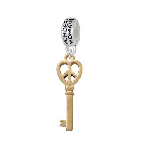 Gold Tone Open Peace Heart Key - Wonder Woman Charm Bead