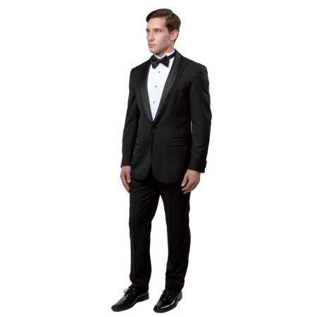 Mens Tuxedo 3 Piece Solid Slim Tuxedo Suits with Peak Collar Satin Lapel MT188S-01