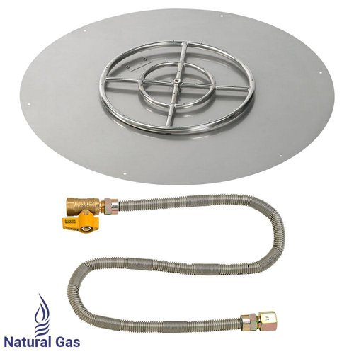 "American Fireglass AFG Match Light Fire Pit, Round Flat Pan, NG, 36"" Pan/18"" Burner"