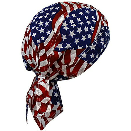 American Flag Patriotic Red White Blue Biker Skull Cap Bandana USA (One Size, Patch Flag) (America Bandana)