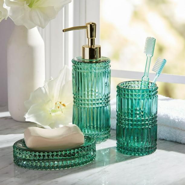 3 Piece Glass Bath Accessory Set By Drew Barrymore Flower Home Green Walmart Com Walmart Com