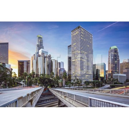 Los Angeles, California, USA Early Morning Downtown Cityscape. Print Wall Art By - Downtown Los Angeles California Art