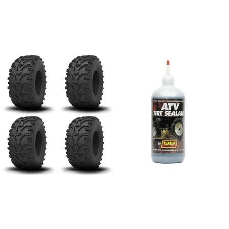 Set of 4 ATV KENDA Tires (Bearclaw 25x8-12 Front, 25x10-12 Rear) with QUADBOSS