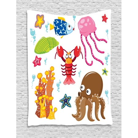 Toddler Tapestry, Under the Sea Wildlife Theme Funny Creatures in Cartoon Style Fun Ocean Aquarium, Wall Hanging for Bedroom Living Room Dorm Decor, 40W X 60L Inches, Multicolor, by Ambesonne
